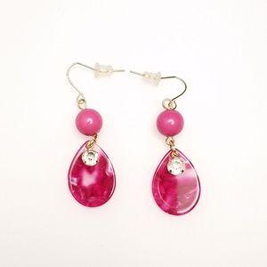 Jewelry - Lovely Mauve Pink Teardrop Rhinestone Earrings.